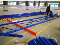 High rise heavy duty pallet racking is under installation
