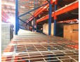 Warehouse pallet rack with wire decking